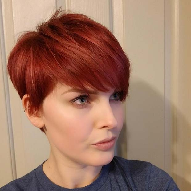 Fiery Red Pixie Cut