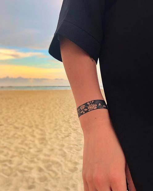 Floral Bracelet Tattoo