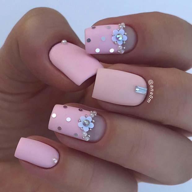 Floral Matte Pink Nails