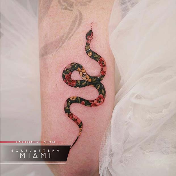 Floral Snake Tattoo Design
