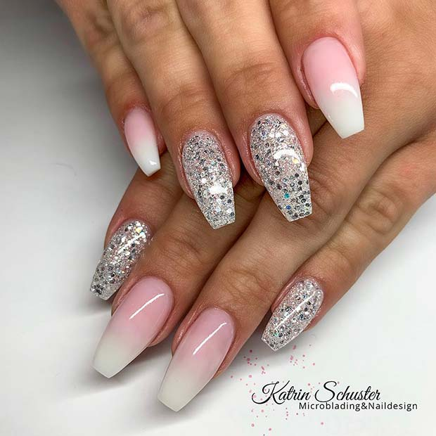French Ombre and Silver Glitter Nails