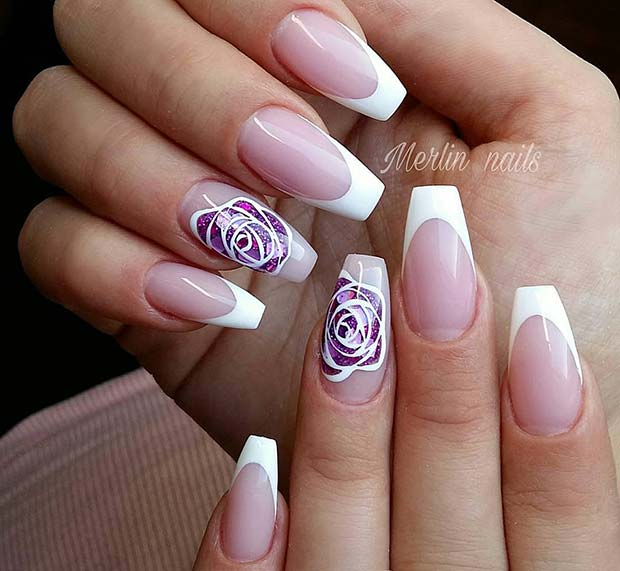 French Tips with Flower Accent Nail