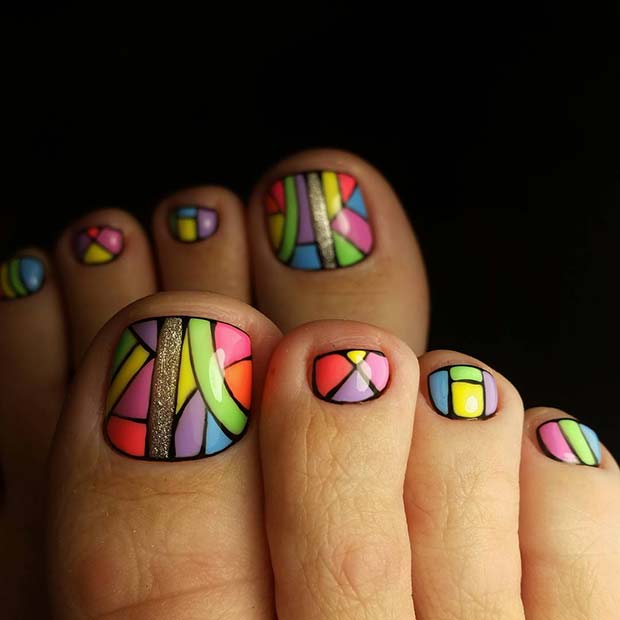 Funky Colorful Toe Nail Design