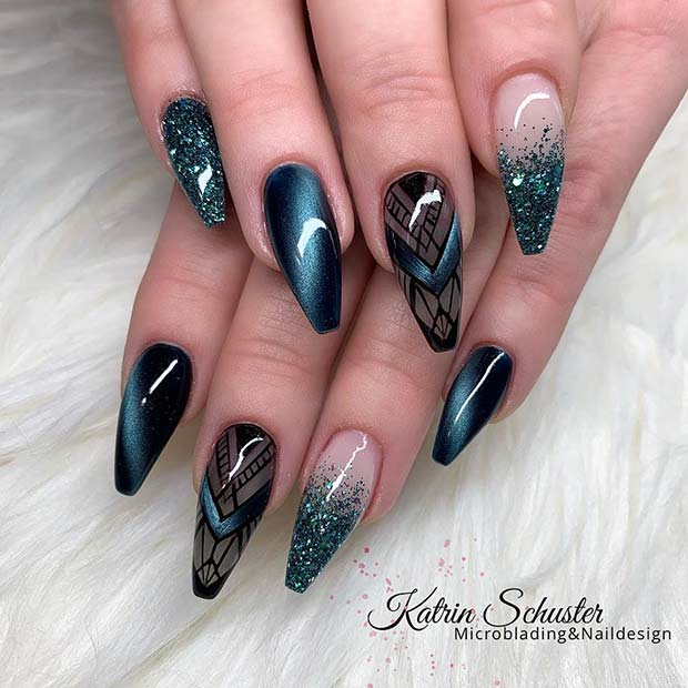Dark Elegant Nail Design for Coffin Nails