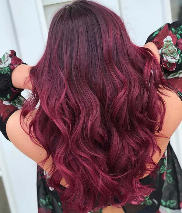 Glam Burgundy Hair Color Idea