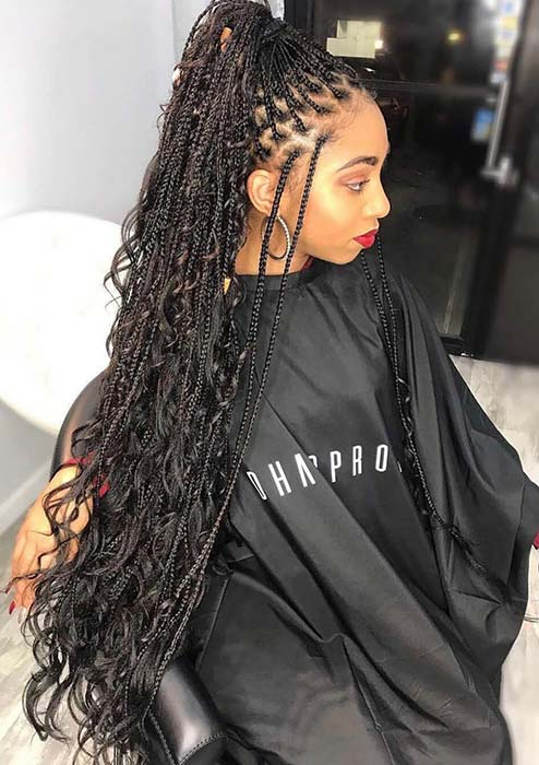 Long and Thin Braids with Curls