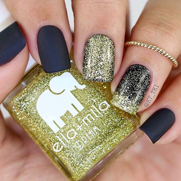 Glam Matte Black and Glitter Nails