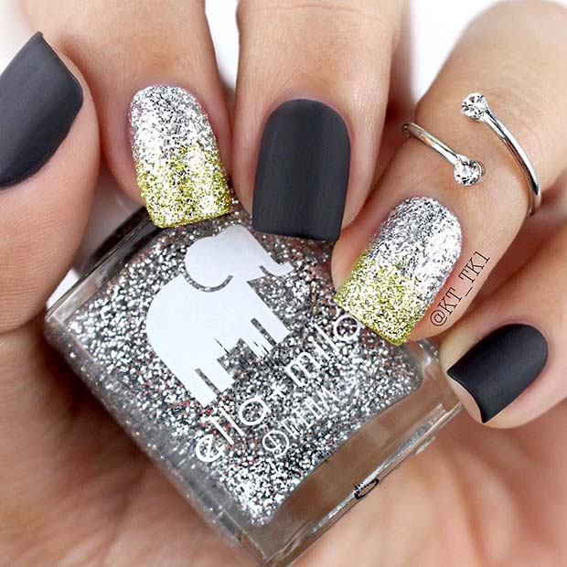 Glam Matte Nails with Glitter Ombre