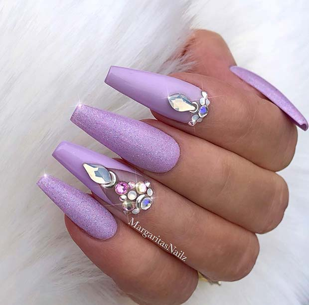 Pastel Purple Nails with Rhinestones