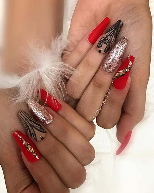 Glam Red Nail Design