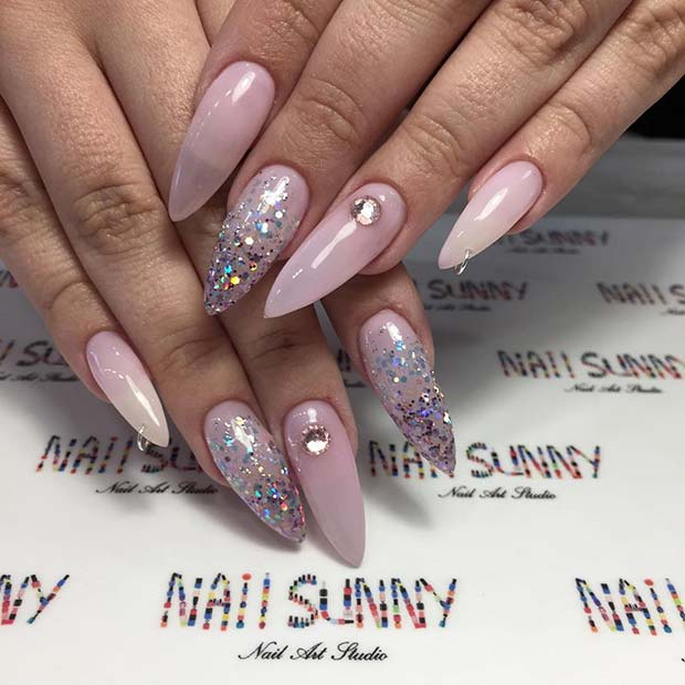 Glam Stiletto Nails with a Dangling Charm