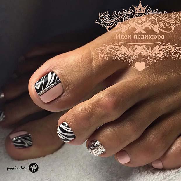 Glam Zebra Toe Nail Design