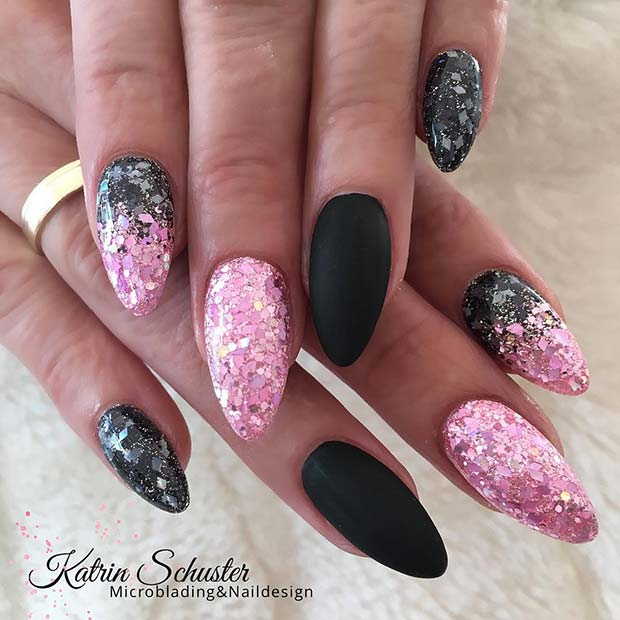 Glitter, Ombre and Matte Black Nails