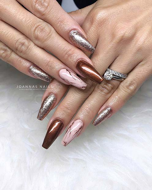 Glitter and Marble Nails