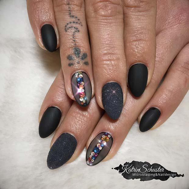 Edgy Glitter and Rhinestone Nails