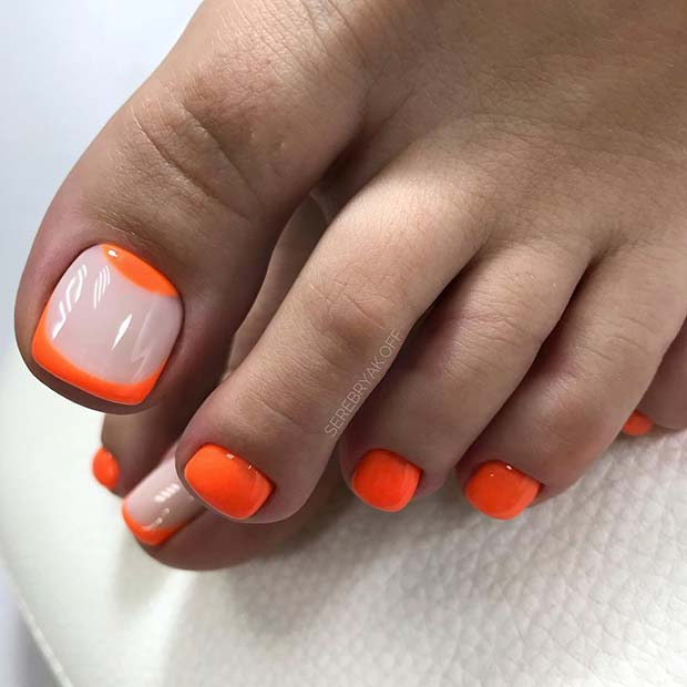 Neon Orange Toe Nails with Trendy Accent Nail
