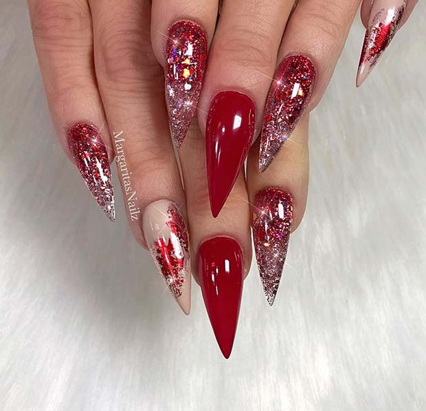 Glossy Red Stiletto Nails