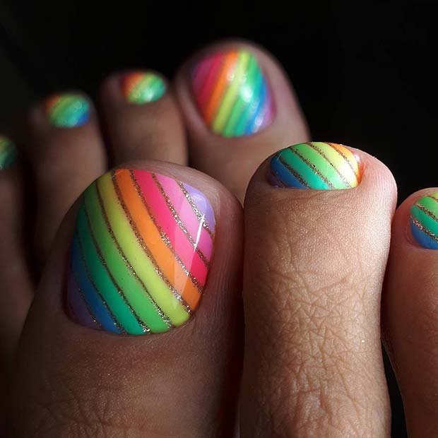 Rainbow Toe Nail Design