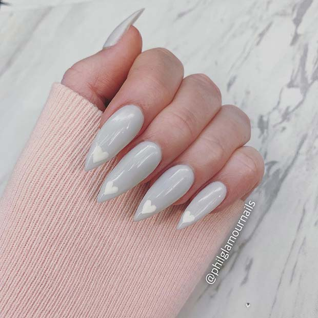 Grey Nails with Cute White Hearts