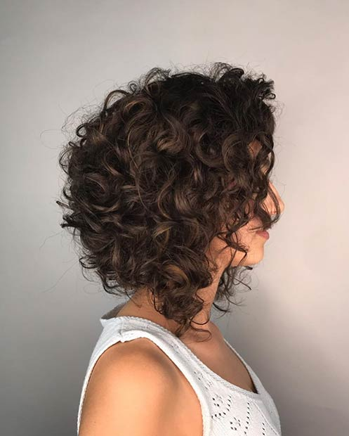 Inverted Curly Bob Haircut