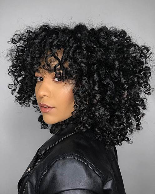 Layered Curly Hair with Bangs