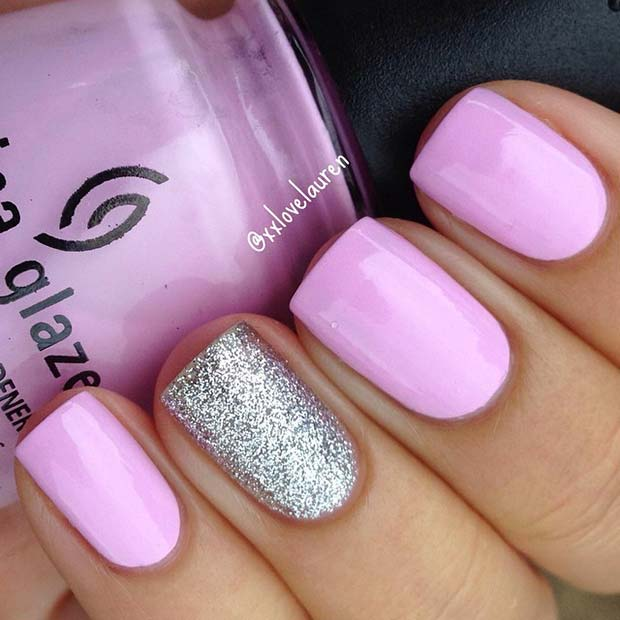 Light Pink and Glitter Nails