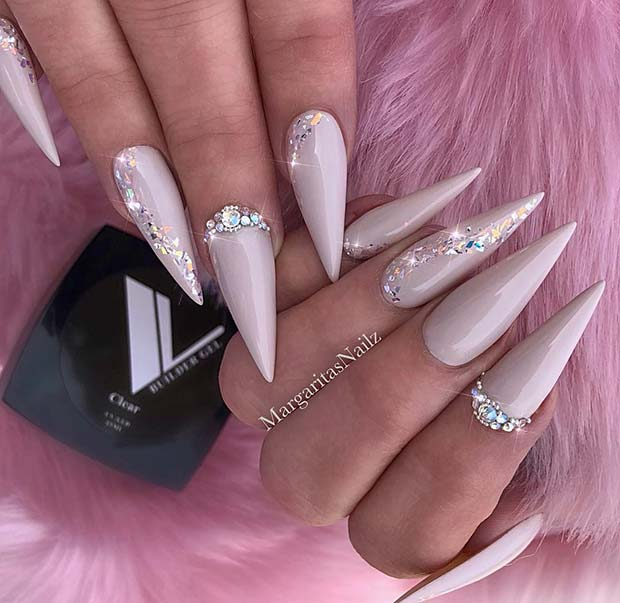 Light Nude and Sparkly Stiletto Nails