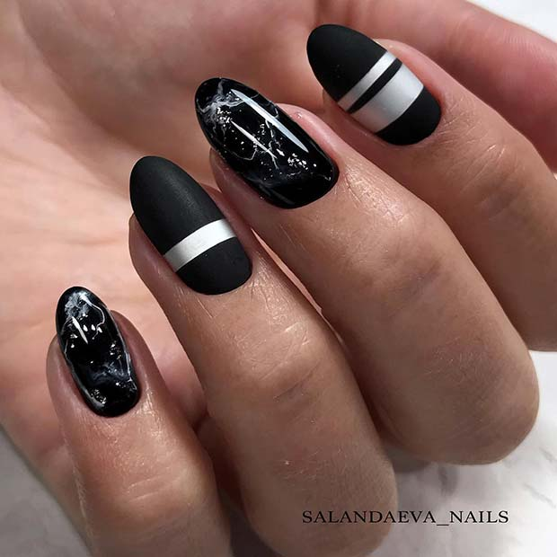 Marble and Stripes Nail Design