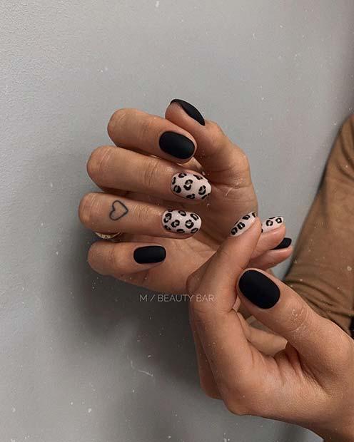 Matte Black and Leopard Nails