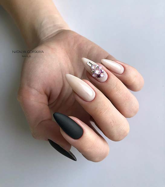 Matte Black and Nude Nails