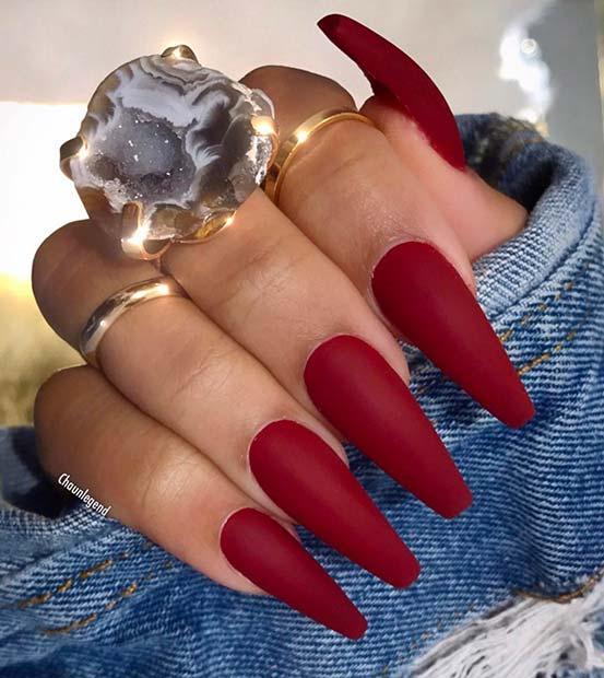 Simple Matte Dark Red Nails