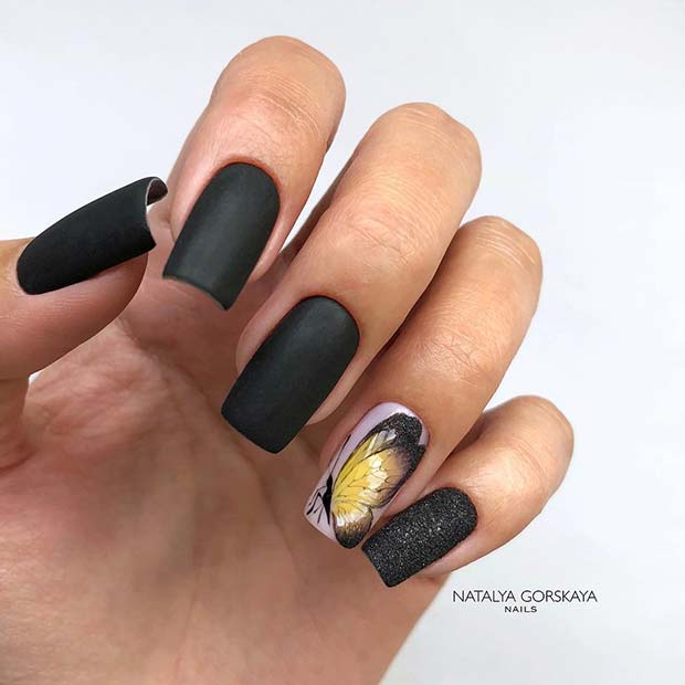 Matte Nails with Butterfly Nail Art