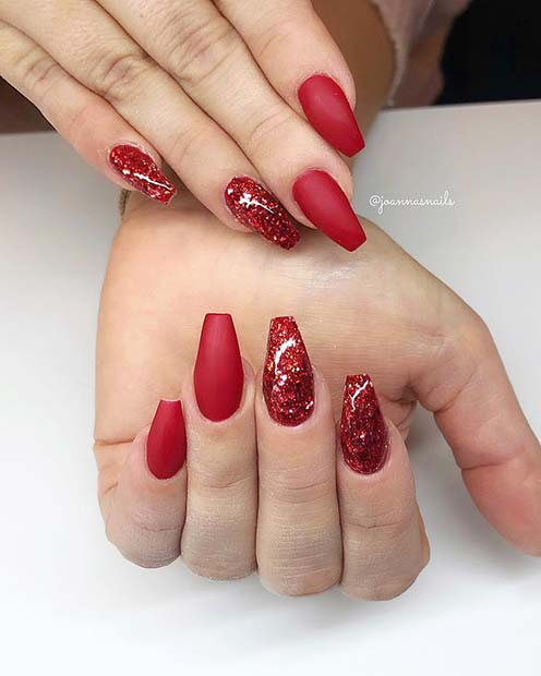 Matte Red with Glitter Accent Nails