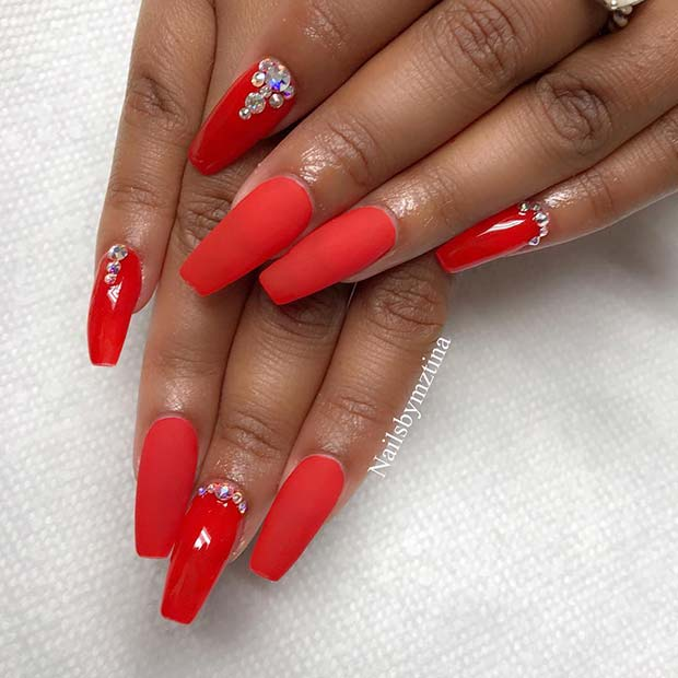 Matte and Glossy Red Nails with Crystals