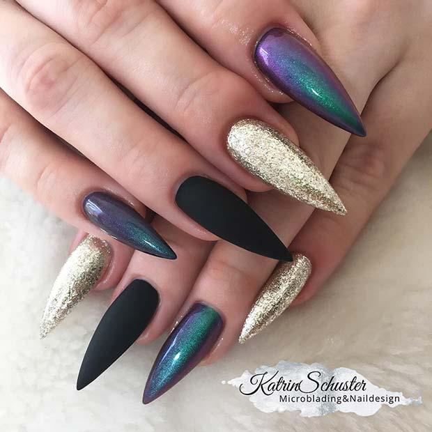 Mermaid Chrome Stiletto Nails