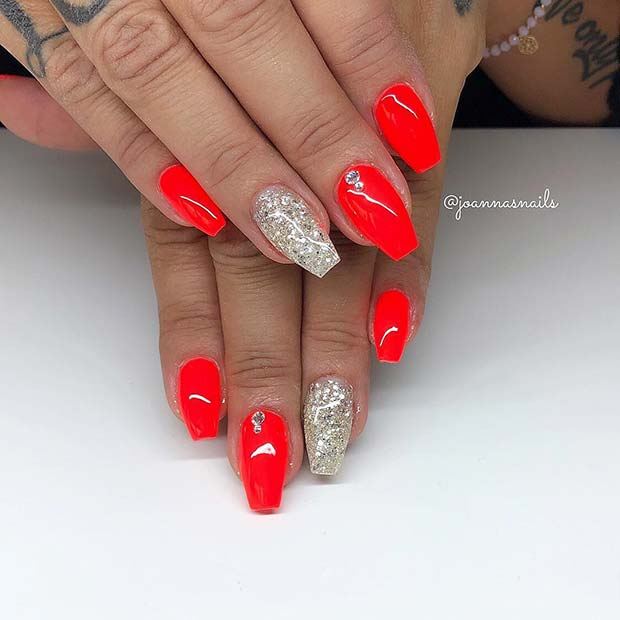 Neon Red and Glitter Nails