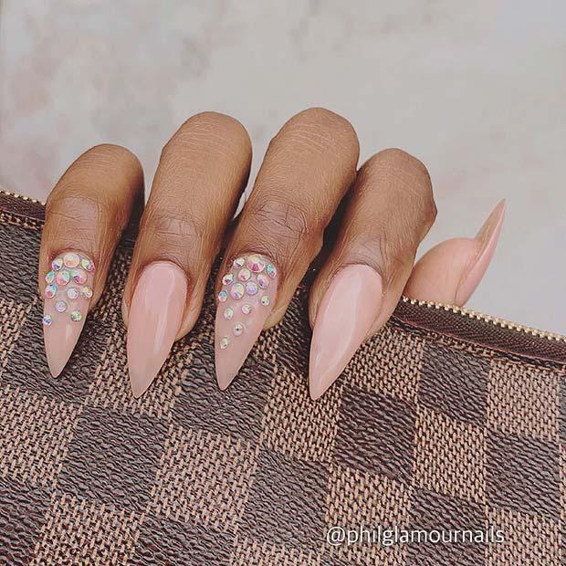 Nude Stiletto Nails with Rhinestones
