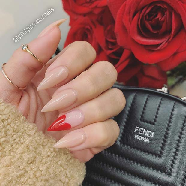 Nude Nails with Cute Red Heart Accent Art