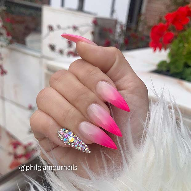 Nude to Pink Ombre Stiletto Nails