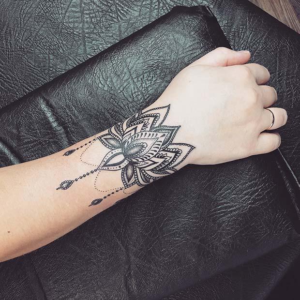 Ornamental Lotus Bracelet Tattoo