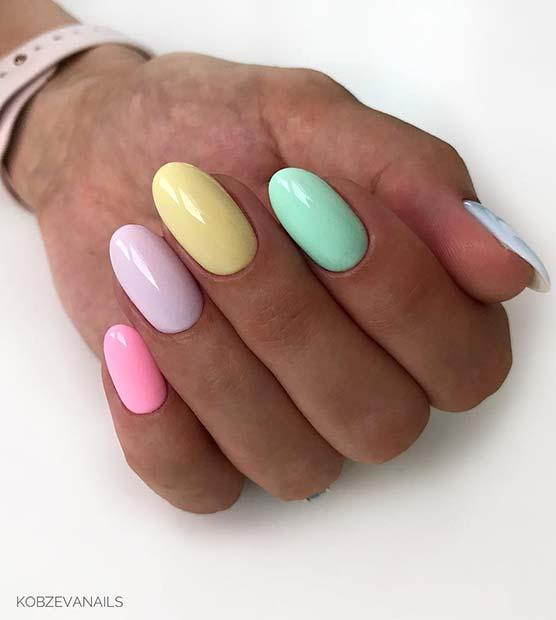 Rainbow Pastel Nail Idea