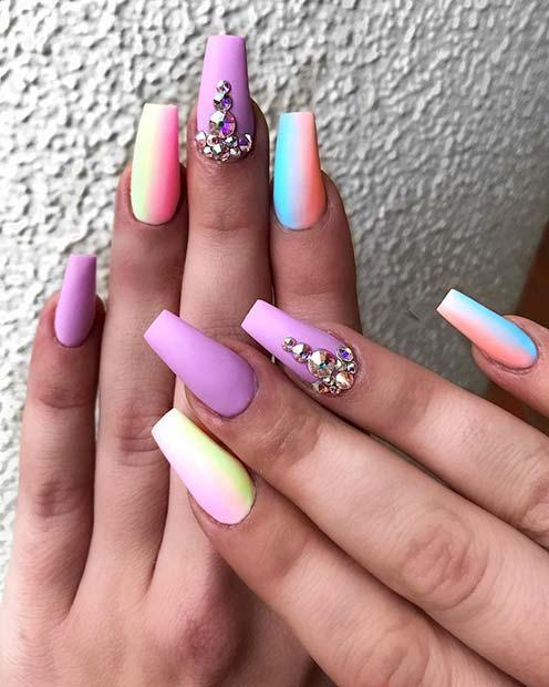 Pastel Rainbow Nails with Rhinestones