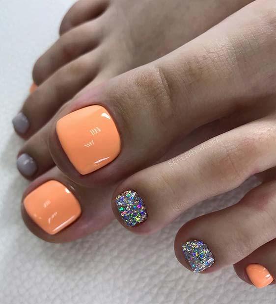 Pastel Orange and Glitter Toe Nail Design