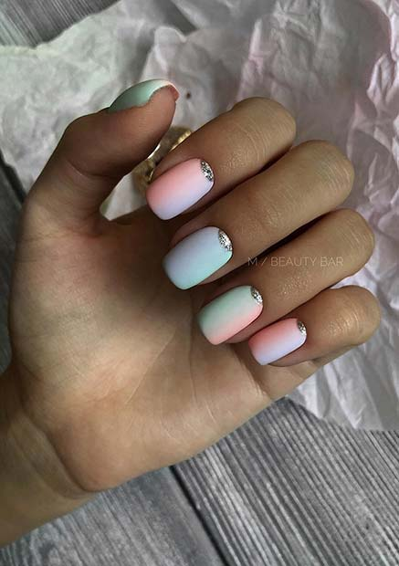 Pastel Gradient Nails with Silver Glitter