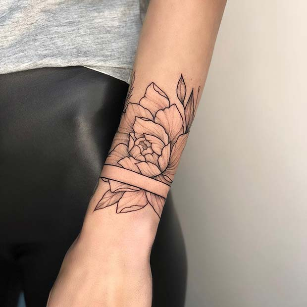 Peony Tattoo with Trendy Cut Out Design