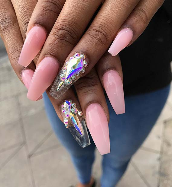 Pink Nails with Glass Accent Nail