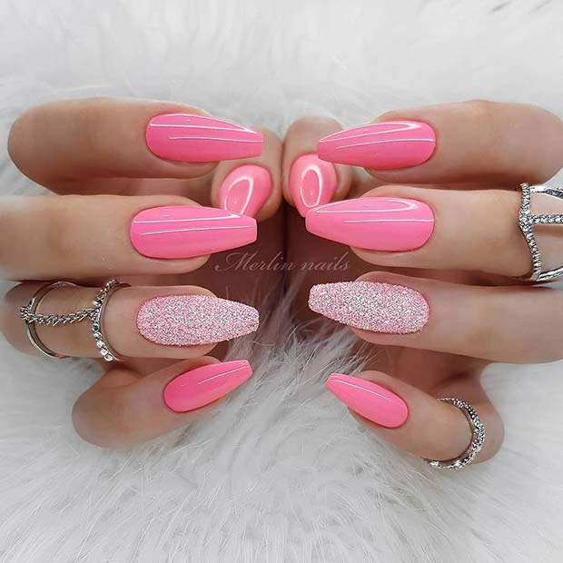 Pink Coffin Nails with Sparkly Accent Nail