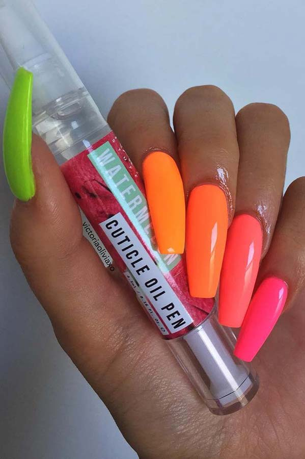 Pink, Orange and Yellow Neon Nails