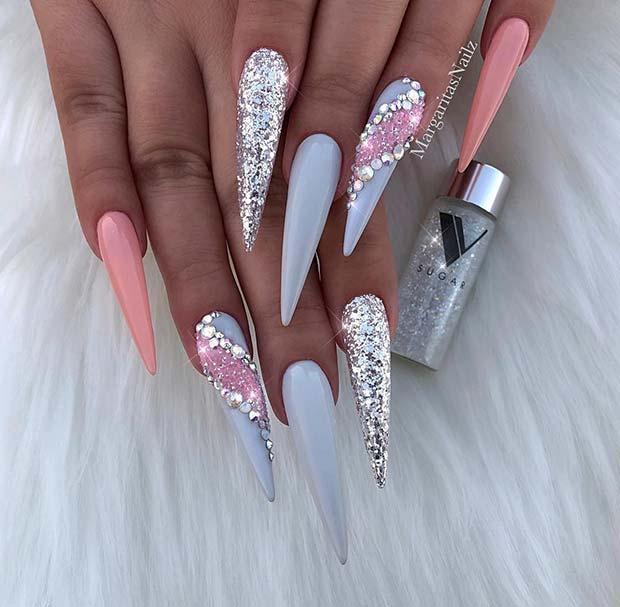 Glitzy Grey Nail Designfor Stiletto Nails