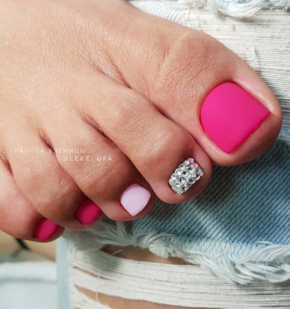 Matte Neon Pink and Crystals